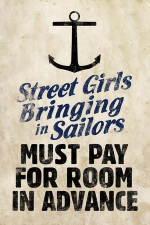 Street Girls Bringing in Sailors Art Poster Print