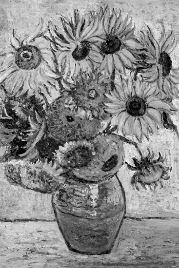 Vincent Van Gogh Vase Twelve Sunflowers Black White Art Print Poster