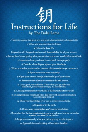 Dalai Lama Instructions For Life Blue Motivational Poster Art Print
