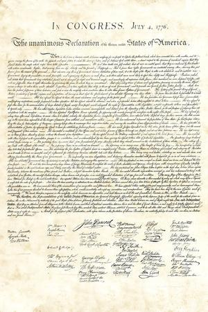 Declaration of Independence Authentic Reproduction Sepia Art Poster Print