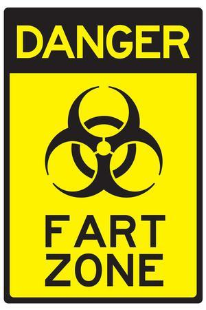 Danger Fart Zone Humor Sign Poster
