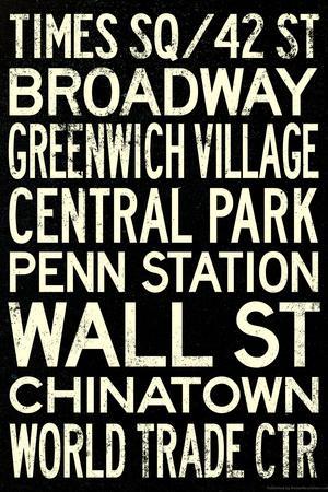 New York City Subway Style Vintage RetroMetro Travel Poster