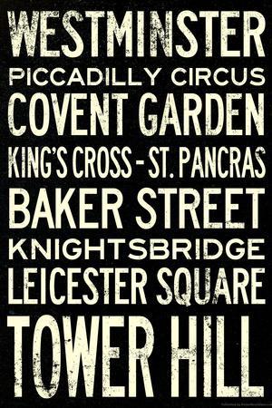 London Underground Vintage Stations Travel Poster