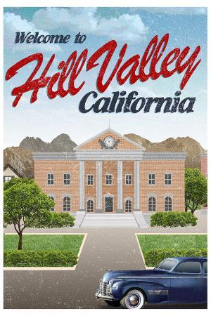 Hill Valley California Retro Travel Poster