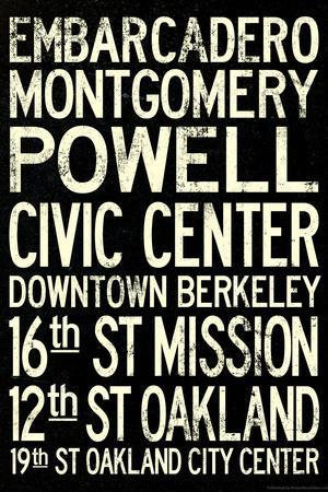 San Francisco Oakland BART Stations Vintage Subway RetroMetro Travel Poster