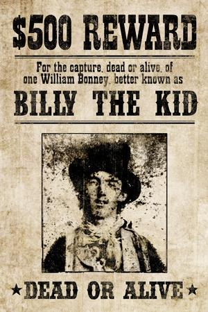 Billy The Kid Western Wanted Sign Print Poster