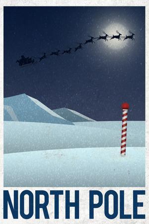 North Pole Retro Travel Poster