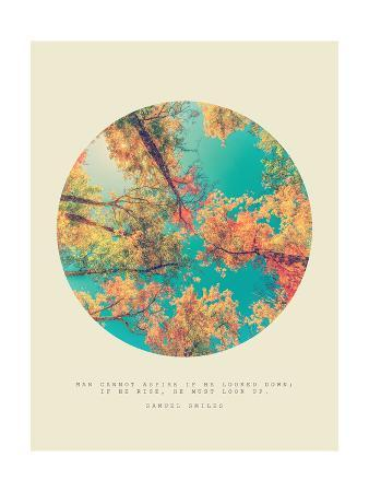 Inspirational Circle Design - Autumn Trees: Man Cannot Aspire if he Looked Down; if he Rise, he Mus