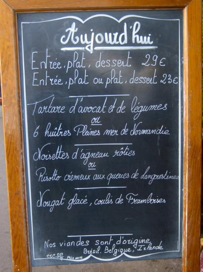 Sidewalk Cafe Menu Paris France Photographic Print By