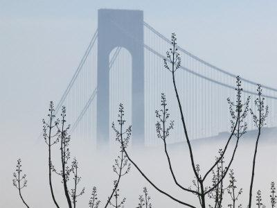 Verrazano-Narrows Bridge in Morning Fog, Staten Island, New York, USA