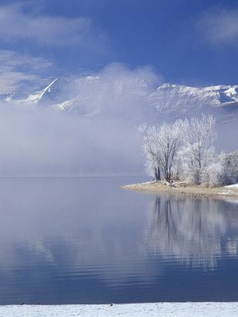 Deer Creek Reservoir and Rimed Trees, Mt. Timpanogas, Wasatch Mountains, Utah, USA