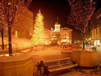 Christmas Tree on Snowy Night in Pioneer Courthouse Square, Portland, Oregon, USA