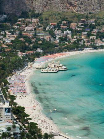 Beach View from Monte Pellegrino, Mondello, Sicily, Italy
