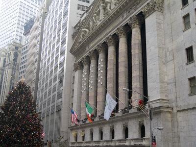 New York Stock Exchange at Christmas, New York City, New York, USA