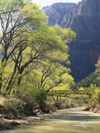 Bridge across River with Mountains in Background, Virgin River, Zion National Park, Utah, USA