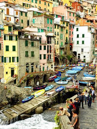 Fishing Boats Line the Launch Site in the Village of Riomaggiore, Cinque Terre, Tuscany, Italy