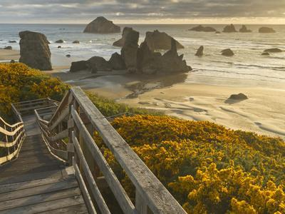A Stairway Leads to the Beach in Bandon, Oregon, USA