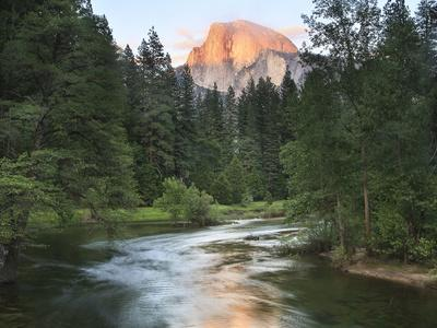 Half Dome with Sunset over Merced River, Yosemite, California, USA