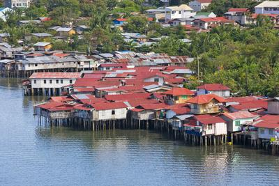 Aerial View of Houses on Stilts Along the Waterfront, Cebu City, Philippines
