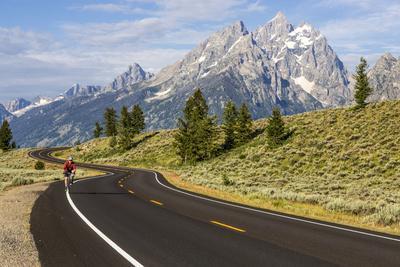 Road Biking in Grand Teton National Park, Wyoming, USA