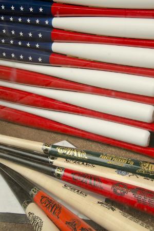 Baseball Bats Made into a Us Flag, Cooperstown, New York, USA