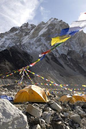 Tents of Mountaineers Along Khumbu Glacier, Mt Everest, Nepal