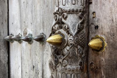 Close-Up of Traditional Carved Door, Stone Town, Zanzibar, Tanzania