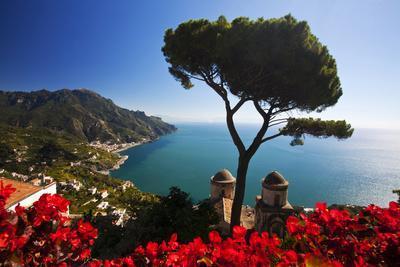 View of the Amalfi Coast from Villa Rufolo in Ravello, Italy