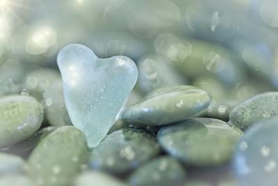 Heart-Shaped Beach Glass and Wet Rocks, Seabeck, Washington, USA