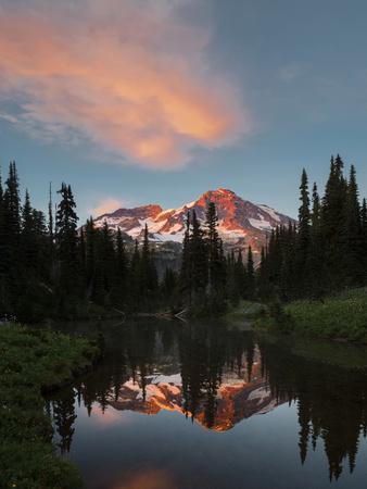 Mt Rainier Reflected in Mirror Pond, Mt Rainier NP, Washington, USA