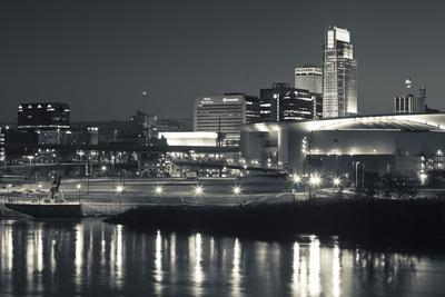 Skyline from the Missouri River at Dusk, Omaha, Nebraska, USA