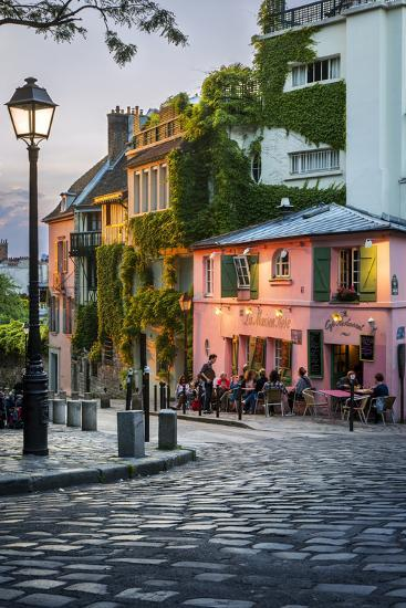 Evening sunlight on la maison rose in montmartre paris france photographic print by brian - La maison du canape paris ...