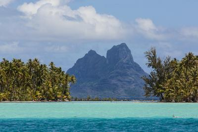 French Polynesia, Bora Bora. Mountain Peaks Seen from Tahaa Lagoon