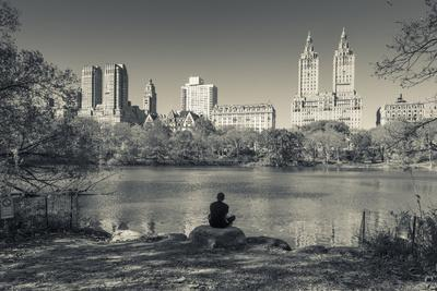 USA, New York, Central Park, Upper West Side Buildings in Fall