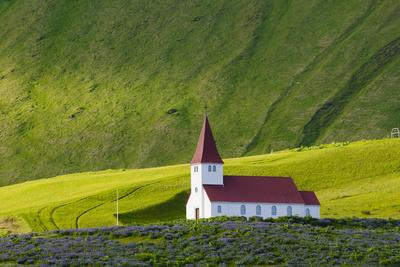 Iceland. Vik I Myrdal. Church on the Hill