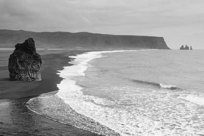 Iceland. Dyrholaey. Black Sand Beach and Sea Stack