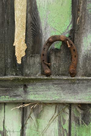 USA, Montana. Rusty Horseshoe on Old Fence