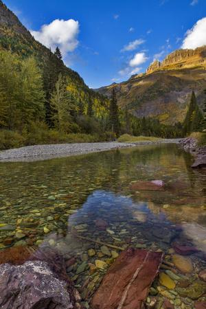 Mcdonald Creek in Autumn with Garden Wall in Glacier National Park, Montana, USA
