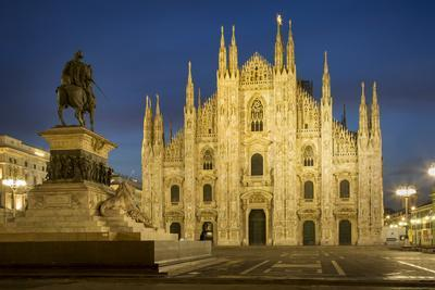 Vittorio Emanuele Statue and Cathedra, Milan, Lombardy, Italy