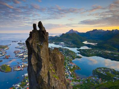 Rock Climbers Scale the Famous Svolværgeita, Svolvaer, Lofoten, Nordland, Norway