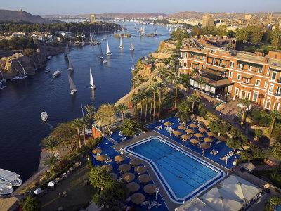 Aswan in Late Afternoon, Old Cataract Hotel in front, Where Agatha Christie Wrote Death, Nile
