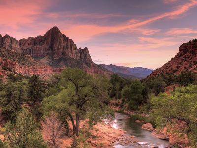 USA, Utah, Zion National Park, Watchman Mountain and Virgin River