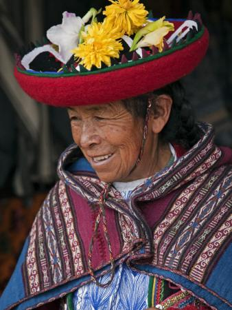 Peru, an Old Woman in Traditional Indian Costume
