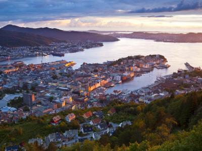 Elevated View over Central Bergen Illuminated at Sunset, Bergen, Hordaland, Norway