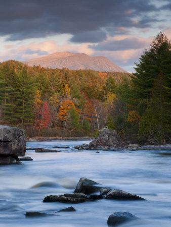 Maine, West Branch of the Penobscot River and Mount Katahdin in Baxter State Park, USA