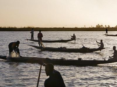 Niger Inland Delta, at Dusk, Bozo Fishermen Fish with Nets in the Niger River Just North of Mopti,