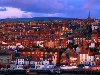 Town Buildings at Dawn, Whitby, North Yorkshire, England