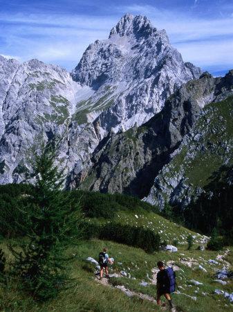 Hikers on Konigsee-Wimbachtal Below South Peak of Waltzmann, Berchtesgaden, Bavaria, Germany