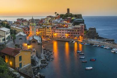 Top View at Sunrise of the Picturesque Sea Village of Vernazza, Cinque Terre, Liguria, Italy