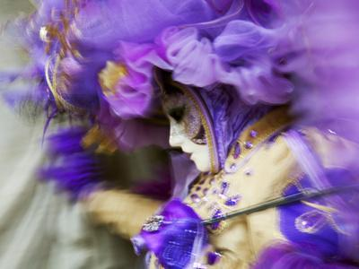Venice, Veneto, Italy, a Mask in Movement on Piazza San Marco During Carnival